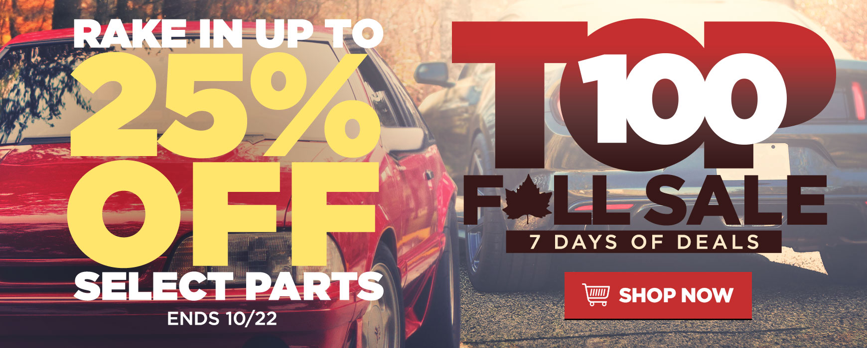 TOP 100 Fall Sale! Up to 25% OFF Select Mustang & Lightning Parts